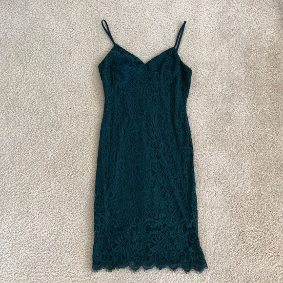 4a32fc506a Lulu s Dresses   Skirts - Figment of Fascination Green Lace Bodycon Dress